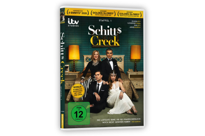 """Die erste Staffel """"Schitt´s Creek"""" ist ab 16.04.2021 auf DVD erhältlich."""