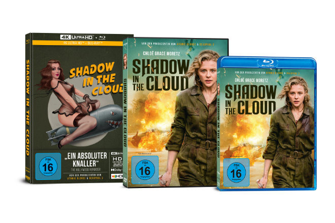 "Der Kriegsfilm ""Shadow in the Cloud"" ist ab 30.04.2021 als DVD, Blu-ray, Limited Collectors Edition im UHD-Mediabook und ab 16.04.2021 digital erhältlich."