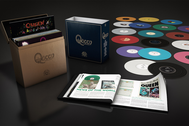 "Seit 25. September 2015 erhältlich. Das 18-teilige LP-Box-Set ""The Studio Collection"" von Queen"