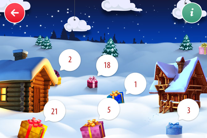 Screenshot der Online Adventskalender App der SIMBA DICKIE GROUP.