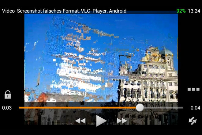 Video-Screenshoot falsches Format, VLC-Player, Android